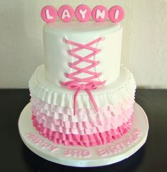 Pretty Pink Laces  Frills Birthday Cake Photo