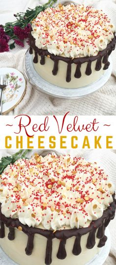 A silky Vanilla Cheesecake sandwiched between two fluffy and moist Red Velvet Cakes, iced in a White Chocolate Cream Cheese Buttercream, topped with a Dark Chocolate Ganache… Make Cream Cheese, Cream Cheese Buttercream, Cream Cheese Pound Cake, Chocolate Cream Cheese, Chocolate Ganache, White Chocolate, Best Homemade Cheesecake Recipe, Cheesecake Recipes, Red Velvet Cheesecake