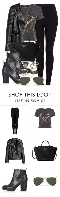 """""""Style #9765"""" by vany-alvarado ❤ liked on Polyvore featuring Topshop, H&M, Gucci, Ray-Ban, Mudd, women's clothing, women, female, woman and misses"""
