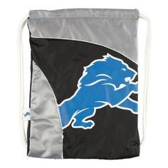 "NFL Detroit Lions Curve Cinch by Littlearth. $14.00. Measures: 13"" x 1"" x 18""; 100% Polyester; Decoration: Screen Print; Wipe Clean with Damp Cloth.  Durable polyester fabric with contrasting ""SporTech"" fabric in two-tone team color; large, blown out screenprinted team logo; woven locker tag with team logo; thick, 5/8"" Fat Cord for comfortable use; hanging pocket in interior; ""Property Of"" nametag on back"