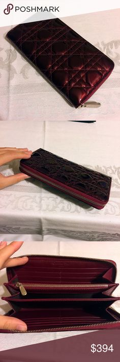 Scarlet Lady Dior Cannage Zippy Wallet Almost in perfect condition. Authentic, you can combine with something else to make the total over 500 in order to get auth check. Christian Dior Bags Wallets