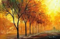 """Yellow Fog — PALETTE KNIFE Oil Painting On Canvas By Leonid Afremov - Size: 24"""" x 16"""" (60cm x 40cm)"""