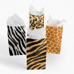 12 ANIMAL PRINT PAPER TREAT BAGS/Zoo/Safari/Jungle/Birthday Party Favor/Prize