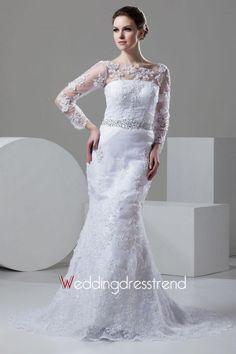 Beautiful Fantastic Appliqued Sheer Bateau Chapel Train Lace Trumpet/Mermaid Wedding Dress - the Best Wedding Dresses Wholesale and Retail Online Store