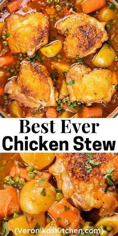 Crockpot Stew Chicken, Chicken Thigh Stew, Chicken Stew With Potatoes, Easy Chicken Stew, Potato Recipes Crockpot, Smothered Chicken Recipes, Stewed Chicken, Stewed Potatoes, Chicken Thigh Recipes