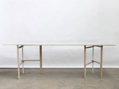 M trestle table proposes a new solution for a foldable trestle table that can be arranged in various ways or fold flat for storage when not in use.
