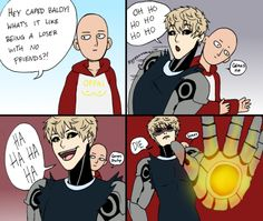 Saitama and Genos lol Saitama One Punch Man, One Punch Man Anime, One Punch Man Funny, Genos X Saitama, Caped Baldy, Attack On Titan, Fandoms, What Is Like, Funny Comics