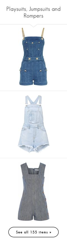 """Playsuits, Jumpsuits and Rompers"" by webuildbridgesnotwalls ❤ liked on Polyvore featuring jumpsuits, rompers, denim rompers, blue rompers, balmain, blue romper, playsuit romper, overall, blue and denim jumpsuits"