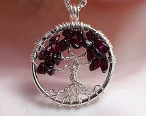 Garnet Tree of Life ---Birthday Trees Handmade Petite Jewelry Pendant Celtic Gemstones Wire Wrapped Trees Custom by Just4FunDesign