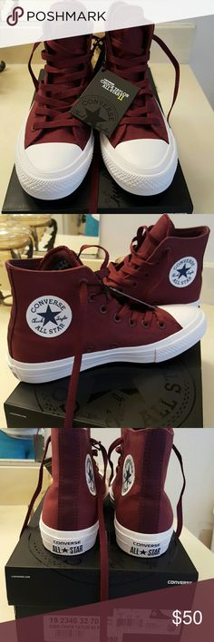 *NEW* Converse Shoes *NEW* Converse Chuck Taylor All Star II high tops in burgandy. These shoes are better quality than the usual Chucks with more padding and thicker material. Comes with burgandy and white laces. Converse Shoes Sneakers My shoe game New Converse, Converse Chuck Taylor All Star, Galaxy Converse, Maroon Converse, Converse Style, Converse High, Dream Shoes, Crazy Shoes, Chuck Taylors