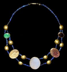 Greek Gold and Stone Necklace, 2nd-1st Century BC.  Made of lapis lazuli, gold, garnet, amethyst, crystal, chalcedony and aventurine.