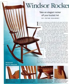 Windsor Rocking Chair Plans - Furniture Plans and Projects - Woodwork, Woodworking, Woodworking Plans, Woodworking Projects Furniture Plans, Diy Furniture, Rocking Chair Plans, Rocking Chairs, Woodworking Plans, Woodworking Projects, Sam Maloof, Got Wood, Projects To Try