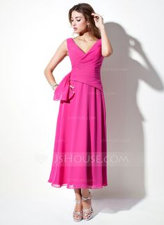 A-Line/Princess V-neck Tea-Length Chiffon Bridesmaid Dress With Ruffle- JJ's House (regency)