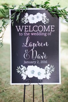 Modern floral inspired wedding sign: http://www.stylemepretty.com/florida-weddings/bonita-springs/2016/05/09/why-an-all-white-wedding-is-never-going-out-of-style/ | Photography: Hunter Ryan Photo - http://hunterryanphoto.com/