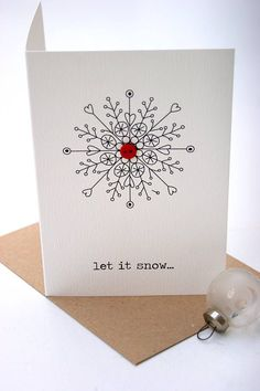'let it snow..' christmas button card by the hummingbird card company | notonthehighstreet.com