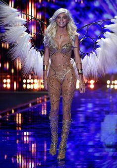 Model Devon Windsor walks the runway at the annual Victoria's Secret fashion show at Earls Court on December 2, 2014 in London, England.