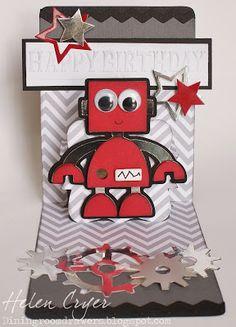 The Dining Room Drawers: Pop 'n Cuts/Cricut Robot Birthday Card