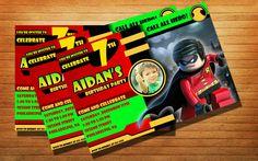 Lego Robin Birthday Party Invitation Kids