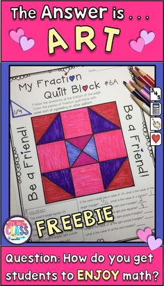Reinforcing Math Fraction skills with art. Students will love this fun art project while also reinforcing fractions. Teaching fractions doesn't have to be a drag! :) Fun Valentine Math activity too! 4th Grade Fractions, Teaching Fractions, Fourth Grade Math, Teaching Math, Equivalent Fractions, Multiplication, Art Lessons Elementary, Elementary Math, Math Lessons