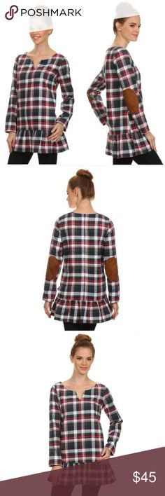 """Plaid Long Sleeve Tunic with Suede Elbow Patches Plaid Long Sleeve Tunic with Suede elbow patches. Red, Green, Navy, & White plaid. Camel color suede elbow patches. Ruffle hem, notch neck, zips up in the back. 60% Cotton 40% Polyester.  Size Small: 29"""" long 34"""" bust. Tops Tunics"""