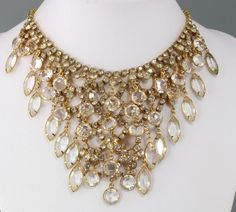 Vintage 50's Chunky Clear Crystal Glass Rhinestone Bead Bib Collar Necklace #BibCollarNecklace