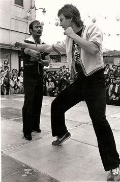 Chris Kent assisting Guro Dan Inosanto during Kali/Escrima demo in LA Chinatown.