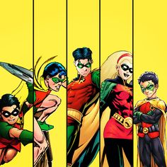 All the Robins! Dick Grayson, Jason Todd, Tim Drake, Stephanie Brown, and Damian Wayne.