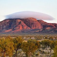 A rather unusual cloud formation over Kata Tjuta at sunrise (Photo via IG/waitedesignsphotography in @AusOutbackNT) www.parkmyvan.com.au #ParkMyVan #Australia #Travel #RoadTrip #Backpacking #VanHire #CaravanHire