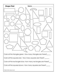 1st Grade Geometry Worksheets- possible assessment tool after shape lesson.