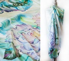 This floral silk veil for spring and summer will be just perfect for any occasion. You can wear it over a dress, or it could be tied like a sarong or a skirt. This shawl is very light and it will be a convenient accessory for traveling. ************************************************************************** Colors are set by professional steaming process, so the silk dye bonds with the silk at the molecular level. Colors are permanent and sun tolerant. Made out of 100% silk habotai…