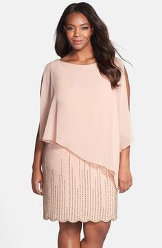 Xscape Chiffon Overlay Beaded Jersey Dress (Plus Size) available at #Nordstrom
