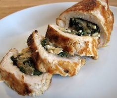Feta, Kale, and Caramelized Onion Stuffed Chicken Breasts