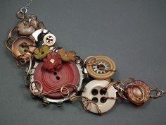 Vintage Button / Skeleton Key Necklaces by Gayle Bird Designs, via Flickr