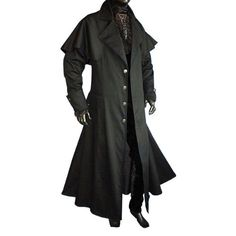 Mens Gothic Medieval LARP Long Coat, Black: Amazon.co.uk: Clothing