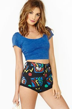 "yess!!! Denim Hot Shorts. High waist apparel has been a ""go to"" for this year. Love the print and fit for a night out on the town from nastygal.com"