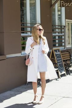 Carven Light Blue Eyelet Dress, Club Monaco White Coat, Cuyana Mini Saddle Bag - Grace Atwood, The Stripe