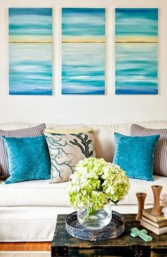 Easy Paint Ideas to Bring Coastal Colors to your Living Room (while Leaving Walls White)