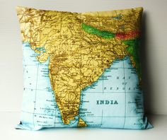 Pillow cushion  cover INDIA and NEPAL map cushion, organic cotton, 16 inch, 41cm, vintage map, atlas, pillow , cushion cover,