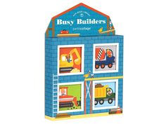 This Busy Builders Mini Library includes four little chunky books brimming with bulldozers, diggers and dump trucks! A fun construction primer perfect for building vocabulary.