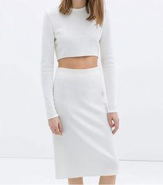 12552e4e8fe8d  Who What Wear - Zara Asymmetric Crop Top ( 80) and Pencil Skirt (