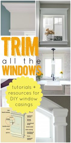 Best Tutorials and Resource to Help You Trim Your Windows via Remodelaholic.The Best Tutorials and Resource to Help You Trim Your Windows via Remodelaholic. Home Improvement Projects, Home Projects, Home Renovation, Home Remodeling, Basement Renovations, Cookie Cutter House, Craftsman Window Trim, Window Casing, Window Trims