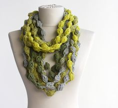 SALE Neon colors infinity scarf crochet womens scarves yellow grey bubble scarfs