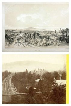 Looking towards the railway station in 1840 as the track was being laid and then about 1870