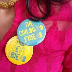 Team bride   Metallic Badge   Ideas for the bride's side bridesmaids   blue and yellow team bride badges   Bridesmaid's Gift ideas   Bridesmaid with a badge   childhood friend and best friend badges   Photo Credit: Design Tuk Tuk   Every Indian bride's Fav. Wedding E-magazine to read.Here for any marriage advice you need   www.wittyvows.com shares things no one tells brides, covers real weddings, ideas, inspirations, design trends and the right vendors, candid photographers etc.