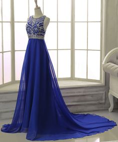 Royal Blue Beading Prom Dress,Long Prom Dresses,Charming Prom Dresses,Evening…