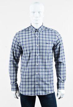 "Maison Kitsune Men's Blue Multi ""Classic Check"" Button Up Shirt"
