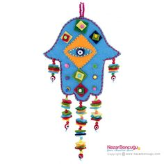 Evil eye wall hanging and home decor amulet to protect your home or office Mobiles, Ramadan Gifts, Felt Decorations, Clay Flowers, Foam Crafts, Hamsa Hand, Home Decor Styles, Clay Art, Sewing Projects