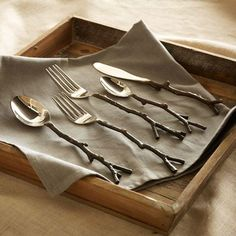Shop twig flatware set - silver from west elm. Find a wide selection of furniture and decor options that will suit your tastes, including a variety of twig flatware set - silver. Kitchenware, Tableware, Flatware Set, Rustic Flatware, Gold Flatware, Place Settings, Table Settings, West Elm, Decorating Tips