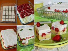 Gyümölcsös kocka - sütés nélkül -  Hozzávalók: kb. 25x20 cm-es tepsihez vagy tálhoz 20 dkg háztartási keksz (négyzet alakú) 7 dl tej 2 csomag vanília ízű pudingpor ((főzős) 6 evőkanál kristálycukor 30 dkg gyümölcs (eper, szeder, málna) 4 dl hideg habtejszín   2 csomag habfixáló por
