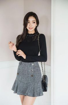 Korean Women`s Fashion Shopping Mall, Styleonme. Preppy Outfits, Korean Outfits, Cute Outfits, Girl Fashion, Fashion Dresses, Womens Fashion, Latest Fashion Trends, Fashion Tips, Fashion Brands